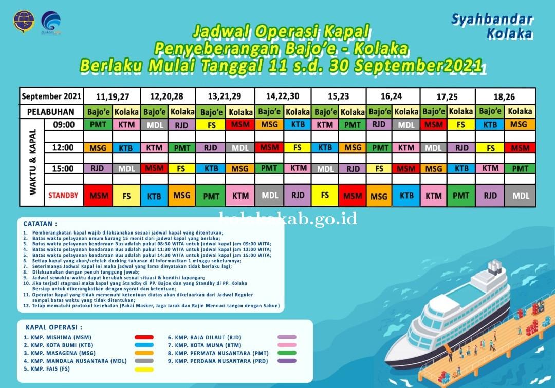 Jadwal Operasi Kapal Penyebrangan Bajoe - Kolaka Berlaku Mulai Tanggal 1 - 30 September 2021